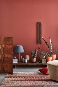 warm interieur - kleuren op muur